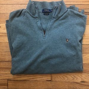Polo 1/4 zip Blue Sweatshirt XXL